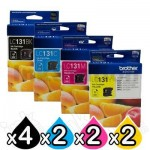 10-Pack Genuine Brother LC-131 Ink Cartridge Combo [4BK+2C+2M+2Y]