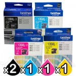5 Pack Genuine Brother LC-139XL/LC-135XL High Yield Ink Combo [2BK+1C+1M+1Y]