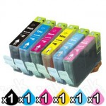 6-Pack Canon CLI-8BK/C/M/Y/PC/PM Compatible Inkjet (with Chip) [1PBK,1C,1M,1Y,1PC,1PM]