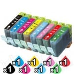 8-Pack Canon CLI-8BK/C/M/Y/PC/PM/G/R  Compatible Inkjet (with Chip) [1PBK,1C,1M,1Y,1PC,1PM,1G,1R]
