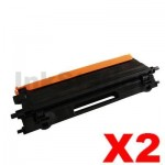 2 x Brother TN-155BK Compatible Black Toner Cartridge - 5,000 pages (TN155 is High Capacity Version of TN150)
