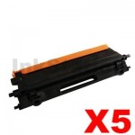 5 x Brother TN-155BK Compatible Black Toner Cartridge - 5,000 pages (TN155 is High Capacity Version of TN150)