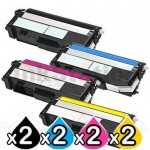 2 Sets of 4-Pack Compatible Brother TN-348 Toner Combo [2BK,2C,2M,2Y]
