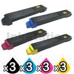 12 Pack Non-Genuine TK-899 Toner Cartridges For Kyocera FS-C8020MFP, FS-C8025MFP, FS-C8520MFP, FS-C8525MFP [3BK,3C,3M,3Y]