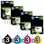 3 sets of 4 Pack HP 920XL Genuine High Yield Inkjet Cartridges CD972AA-CD975AA [3BK,3C,3M,3Y]