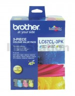 Genuine Brother LC-67CL3PK Colour Pack [C+M+Y] - 325  Pages each