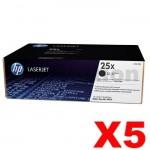 5 x HP CF325X (25X) Genuine Black Toner Cartridge - 40,000 Pages