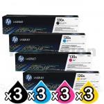 3 sets of 4 Pack HP CF350A-CF353A (130A) Genuine Toner Cartridges [3BK,3C,3M,3Y]