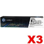 3 x HP CF350A (130A) Genuine Black Toner Cartridge - 1,300 Pages
