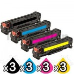 3 sets of 4 Pack HP 410X (CF410X-CF413X) Compatible Toner Cartridges [3BK,3C,3M,3Y]