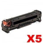 5 x HP 410X (CF410X) Compatible Black Toner Cartridge - 6,500 pages