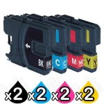 8 Pack Compatible Brother LC-133 Ink Cartridges [2BK,2C,2M,2Y]
