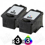 6 Pack Canon PG-510 & CL-511 Compatible Value Pack [3BK,3C]