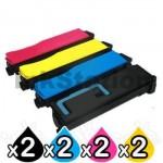 2 Sets of 4 Pack Non-Genuine TK-884 Toner Cartridges For Kyocera FS-C8500DN [2BK,2C,2M,2Y]