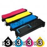 3 Sets of 4 Pack Non-Genuine TK-884 Toner Cartridges For Kyocera FS-C8500DN [3BK,3C,3M,3Y]