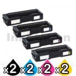 2 Sets of 4 Pack Lanier SPC252DN / SPC252SF (407720-407723) Compatible Toner Combo [2BK+2C+2M+2Y]