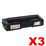 3 x Lanier SPC232DN / SPC242SF / SPC312DN / SPC320DN (406483) Compatible Black Toner Cartridge - 6,500 pages