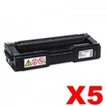 5 x Lanier SPC232DN / SPC242SF / SPC312DN / SPC320DN (406483) Compatible Black Toner Cartridge - 6,500 pages