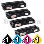 4 Pack Lanier SPC232DN / SPC242SF / SPC312DN / SPC320DN (406483-406486) Compatible Toner Combo [BK+C+M+Y]