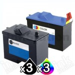 6 Pack Dell A940 A960 (7Y743+7Y745) Compatible Inkjet Combo [3BK,3C]