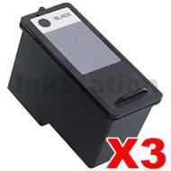 3 x Dell 966 / 968 Black (CH883/Sereis7-Bk) Compatible Inkjet Cartridge - High capacity