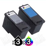 6 Pack Dell 922 924 942 962 964 944 (M4640 + M4646) Compatible Ink Combo [3BK,3C]