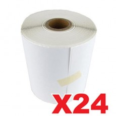 24 Rolls Perforated Direct Thermal Labels White 100mm X 150mm - 350 Labels per Roll (Roll diameter 10.5cm)