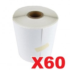 60 Rolls Perforated Direct Thermal Labels White 100mm X 150mm - 350 Labels per Roll (Roll diameter 10.5cm)