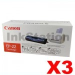3 x Canon EP-22 Black Genuine Toner Cartridge - 2,500 pages