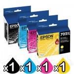 4 Pack Epson 702XL Genuine High Yield Inkjet Cartridges Combo [1BK,1C,1M,1Y]