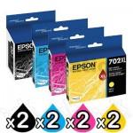 8 Pack Epson 702XL Genuine High Yield Inkjet Cartridges Combo [2BK,2C,2M,2Y]