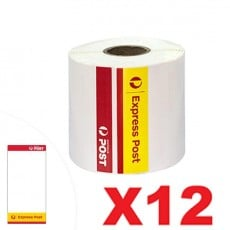 12 Rolls Express Post Perforated Direct Thermal Labels 100mm x 206mm - 300 Labels per Roll