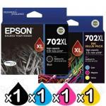 Epson 702XL C13T345192 Black + C13T345592 CMY Value Pack High Yield Genuine Inkjet Cartridges [1BK,1C,1M,1Y]
