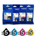 20 Pack Brother LC-3329XL High Yield Genuine Ink Cartridges Combo [5BK, 5C, 5M, 5Y]