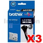3 x Genuine Brother LC-37BK Black Ink Cartridge - 350 pages each