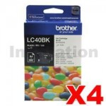 4 x Genuine Brother LC-40BK Black Ink Cartridge - 300 pages each