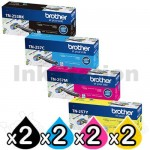 2 Sets of 4 Pack Brother TN-253 / TN-257 Genuine Toner Combo [2BK,2C,2M,2Y]