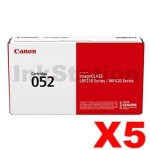 5 x Canon CART-052 Black Genuine Toner Cartridge - 3,100 pages