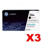 3 x HP CF226A (26A) Genuine Black Toner Cartridge - 3,100 Pages