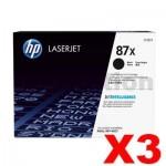 3 x HP CF287X (87X) Genuine Black Toner Cartridge - 18,000 Pages