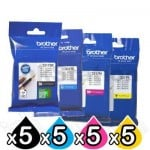 20 Pack Genuine Brother LC-3317 Ink Combo [5BK,5C,5M,5Y]