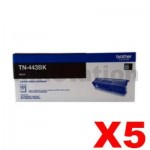 5 x Genuine Brother TN-443BK Black Toner Cartridge - 4,500 pages