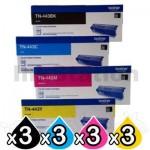 3 Sets of 4-Pack Brother TN-443 Genuine Toner Combo [3BK,3C,3M,3Y]