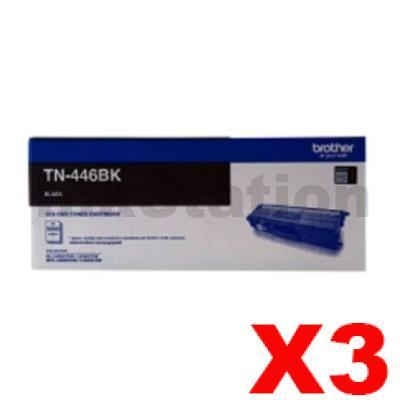 3 x Genuine Brother TN-446BK Black Toner Cartridge - 6,500 pages