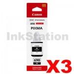 3 x Genuine Canon GI690BK Black Ink Bottle