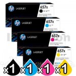 4 Pack HP 657X (CF470X-CF473X) Genuine Toner Cartridges [1BK,1C,1M,1Y]