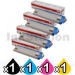 4 Pack Genuine OKI C911 / C931 / C941 High Yield Toner Combo (45536517-45536520)