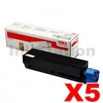 5 x OKI Genuine B432 B512 MB472 MB492 MB562 Black Toner Cartridge - 3,000 pages (45807103)