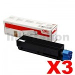 3 x OKI Genuine B432 B512 MB492 MB562 Black Extra High Yield Toner Cartridge - 12,000 pages (45807112)