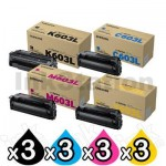 3 Sets of 4-Pack Genuine Samsung SLC4060 SLC4010 [CLT603L] Toner Combo [3BK,3C,3M,3Y]